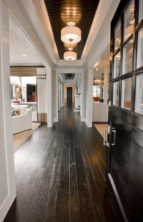 Glossy black floors design ideas for Wood floor and ceiling