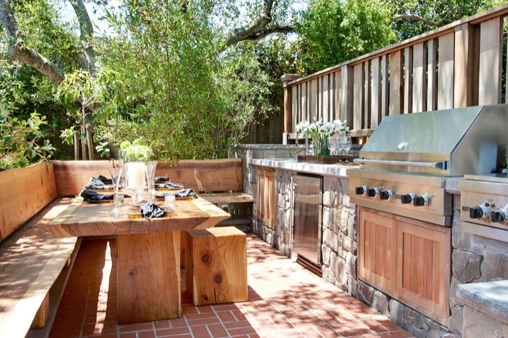 outdoor kitchen ideas transitional deck patio