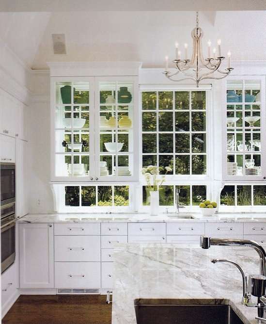 Glass front kitchen cabinets transitional kitchen for Kitchen ideas no window