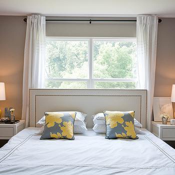 Yellow and Gray Bedroom, Contemporary, bedroom, Benjamin Moore Silver Fox, A cup of Mai