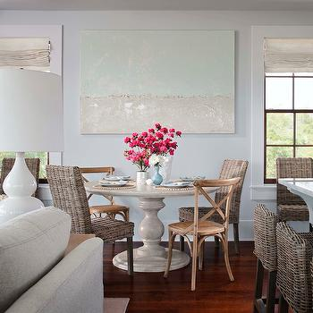 Round French Table, Cottage, dining room, Sherwin Williams Misty, Summer House Style