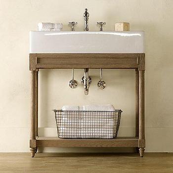 Weathered Oak Single Console Sink, Weathered Oak, Restoration Hardware