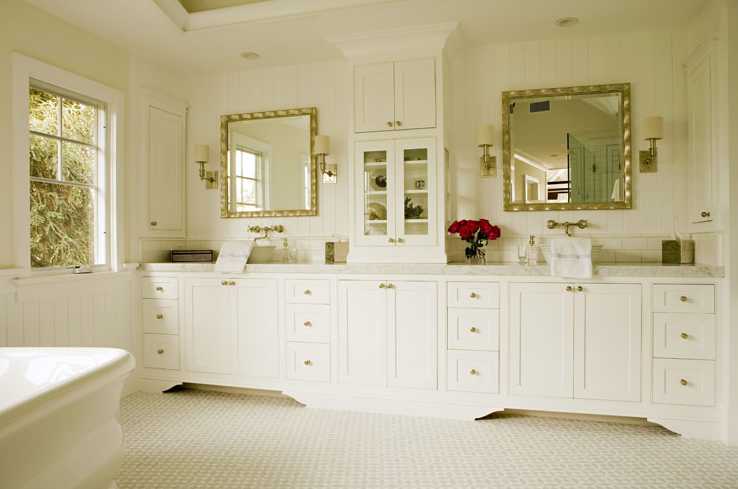 Chic, Elegant Master Bathroom Design With White Built In Double Bathroom  Vanities Cabinets, White Carrara Marble Counter Tops, Round Vessel Sinks,  ...