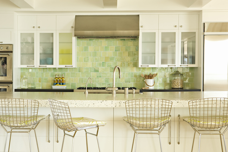 white kitchen green backsplash metal bar stools cottage kitchen eric design 298