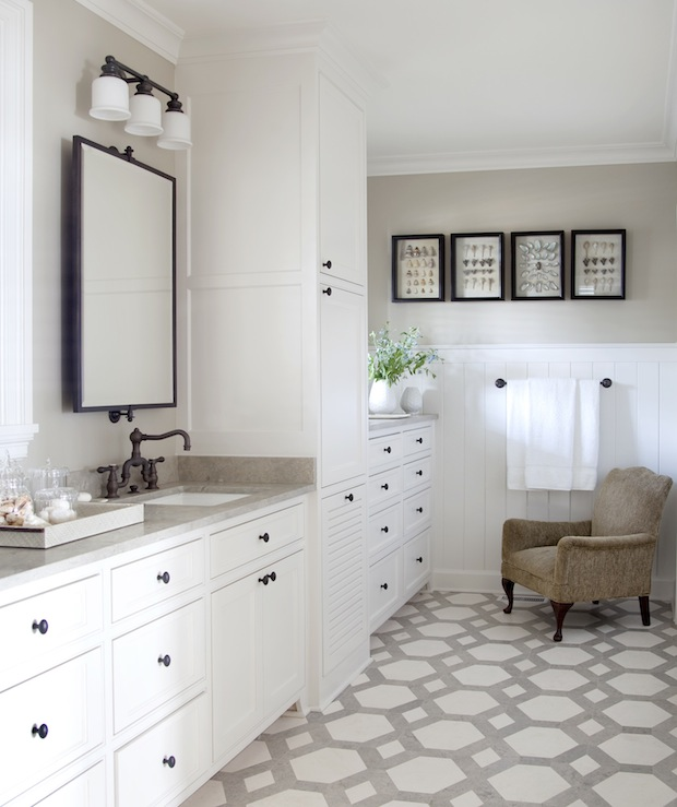design with two tone travertine tiles floor white bathroom cabinets