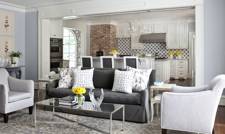 Charcoal Gray Sofa Transitional Living Room Sherwin Williams North Star At Home In Arkansas