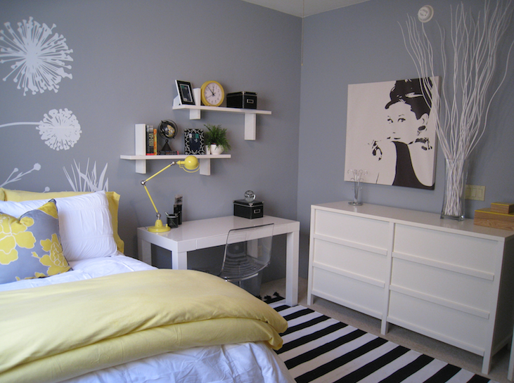 Yellow and gray bedroom design ideas for Bedroom ideas grey bed
