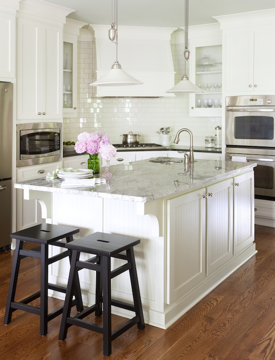 Beautiful White Kitchen Design With Shaker Cabinets Black Granite Counter Tops Glossy Subway Tiles Backsplash Beadboard