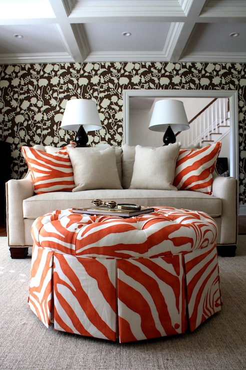 Astonishing Zebra Ottoman Transitional Living Room Porter Design Alphanode Cool Chair Designs And Ideas Alphanodeonline
