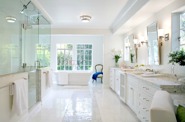 Master bathroom ideas transitional bathroom Master bathroom tile floor