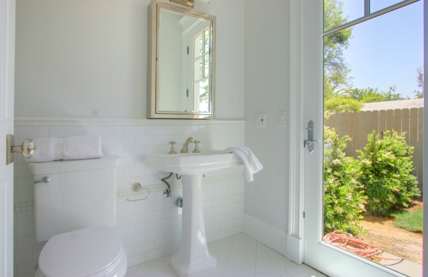 1143 Linda Flora Amazing Bathroom Design With Pale Green Walls Paint Color Glossy White Pedestal Sink Silver Mirror Medicine Cabinet And Subway Tiles