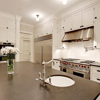 Honed Absolute Black Granite, Transitional, kitchen, Benjamin Moore Morning Dew, Paul Moon Design