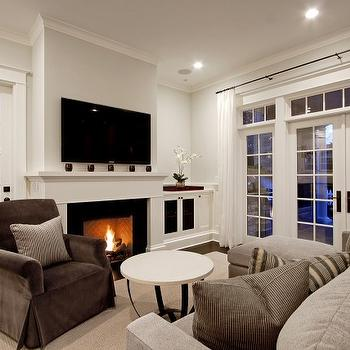 Flatscreen over Fireplace, Transitional, living room, Benjamin Moore Morning Dew, Paul Moon Design