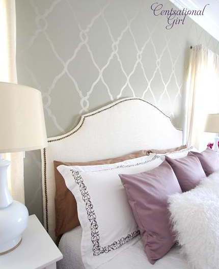 stenciled accent wall contemporary bedroom