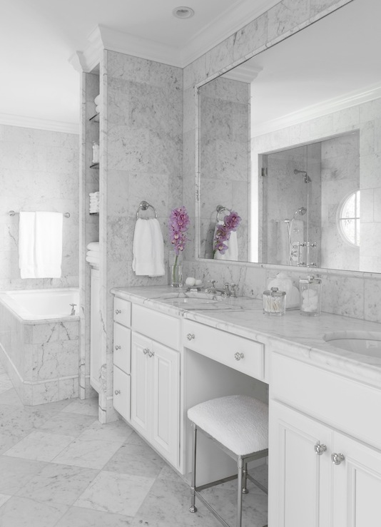 White Marble Bathroom : Statuarietto marble transitional bathroom