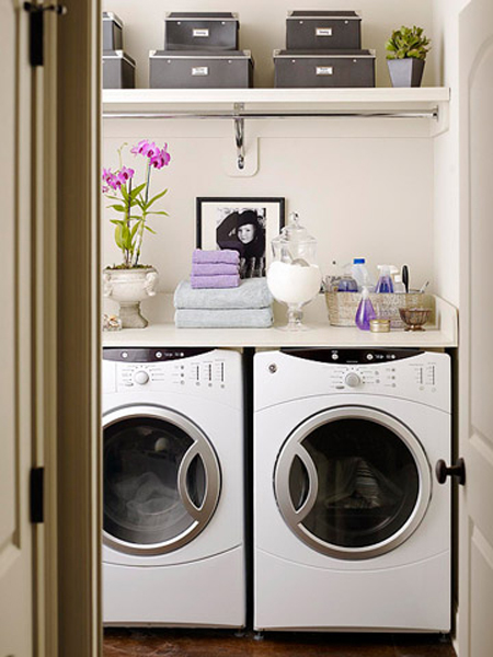 Superior Lovely Laundry Room Design With Ivory Walls Paint Color, White Washer U0026  Dryer, Gray Storage Boxes And Lilac And Purple Towels. Part 12