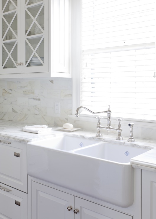 Gorgeous kitchen cabinets painted Benjamin Moore White Dove, farmhouse