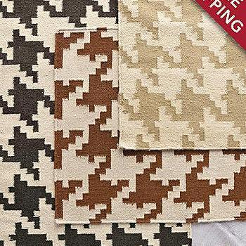 Houndstooth Flat-Weave Wool Rug, Garnet Hill