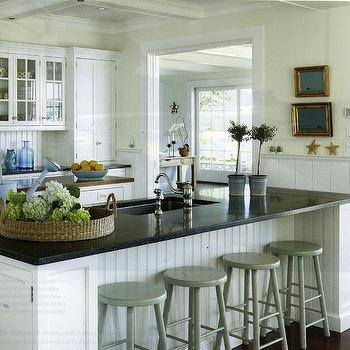 White Beadboard Kitchen Cabinets, Cottage, kitchen, Lynn Morgan Design
