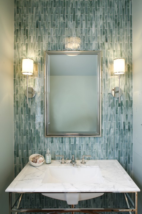 beautiful powder room design with blue glass tiles backsplash silver