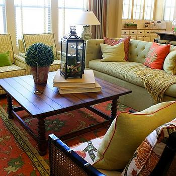 green couch living room. Green Tufted Sofa Design Ideas