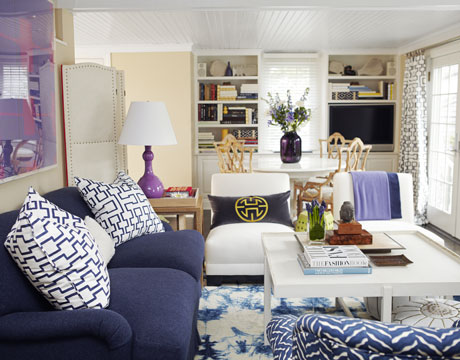 navy and white living room. Navy Blue Sofa  Transitional living room House Beautiful