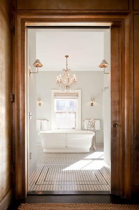 Chandelier Above Bathtub - Transitional - bathroom - Nate Berkus Design