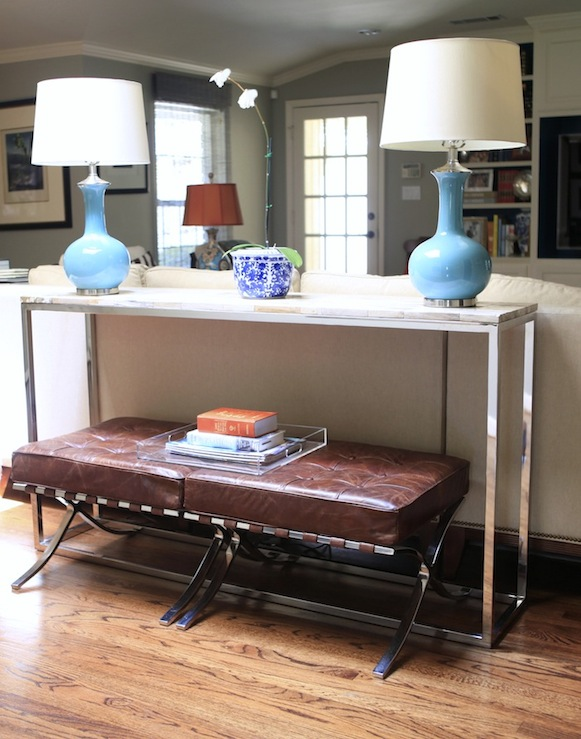 Acrylic Console Table Transitional Living Room