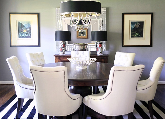 Gorgeous Dining Room Design With Gray Walls Z Gallerie Tuxedo Chandelier FLOR Side By Striped Carpet Tiles Restoration Hardware Martine Chairs