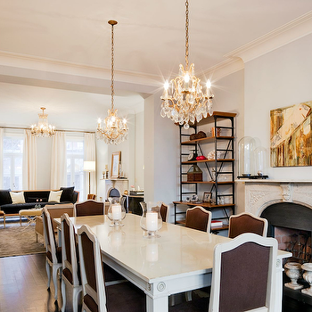 Blue Gray Paint, French, dining room, Benjamin Moore Pale Smoke, Nate Berkus Design