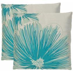 botanical 18 inch white blue decorative pillows set of 2 overstockcom - Turquoise Decorative Pillows