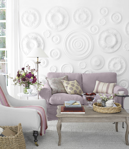 Lilac sofa transitional living room country living Lilac living room ideas