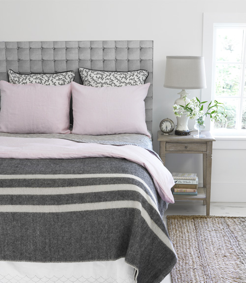 Gray And Pink Bedroom Transitional Bedroom Country Living