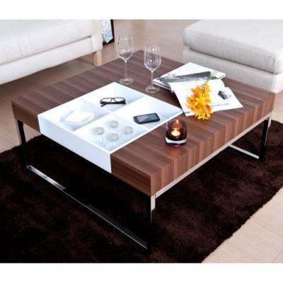 Modern Contemporary Walnut Coffee Table w/ Flip Tray - eBay