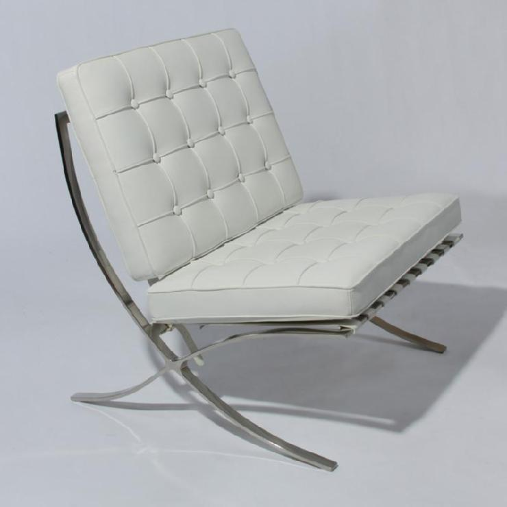 Barcelona Lounge Chair in White Leather Modern Accent eBay