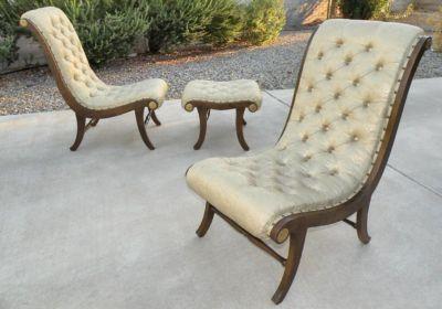 Strange 1960 Hollywood Regency Klismos Slipper Chairs Ottoman Ebay Pdpeps Interior Chair Design Pdpepsorg
