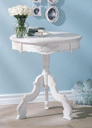Furniture Romantic Carved Wood Accent Table In White
