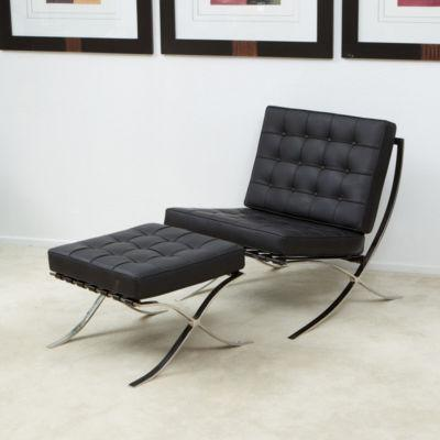 Pavilion Black Leather Modern Accent Lounge Chair New Ebay
