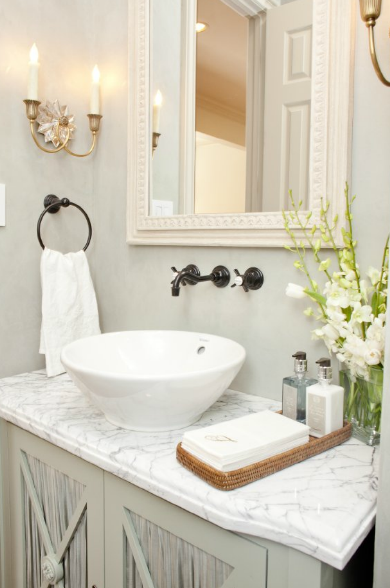 Bowl Sink Transitional Bathroom Munger Interiors - Bathroom colors with bronze fixtures