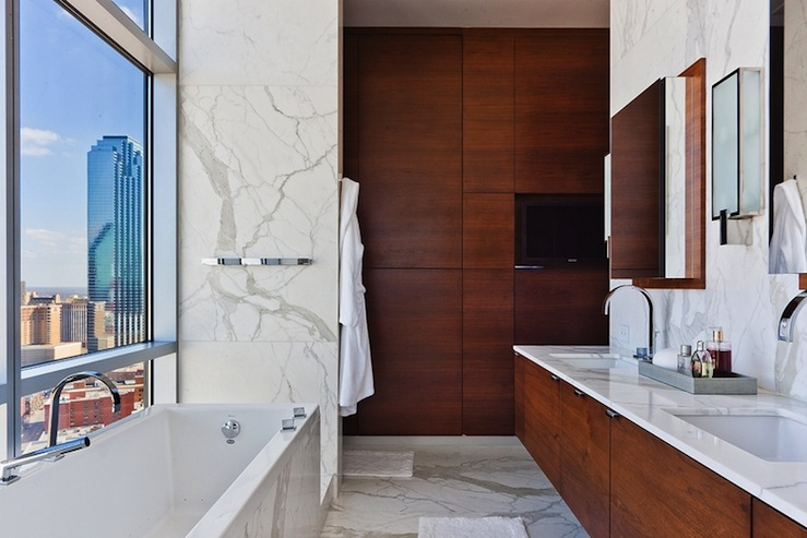 Modern City Bathroom Cherry Floating Double Vanity, Marble Counter Tops U0026  Backsplash, Polished Chrome Faucets Marble Tiles Floor And Cherry Cabinets.