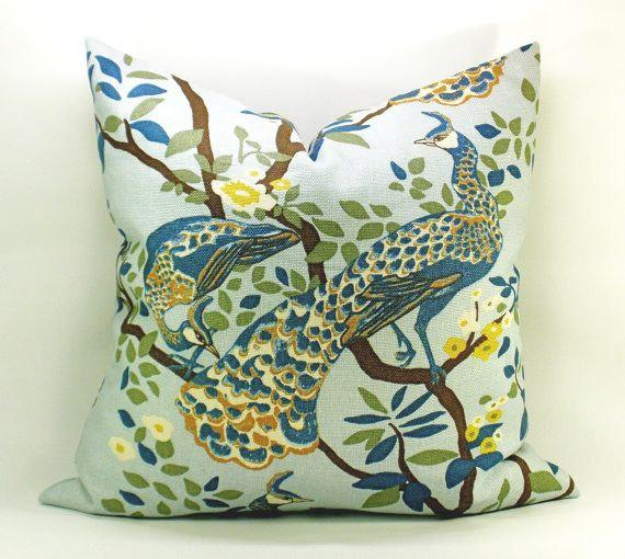 Dwell Studio Vintage Plumes Peacock Pillow Cover In By