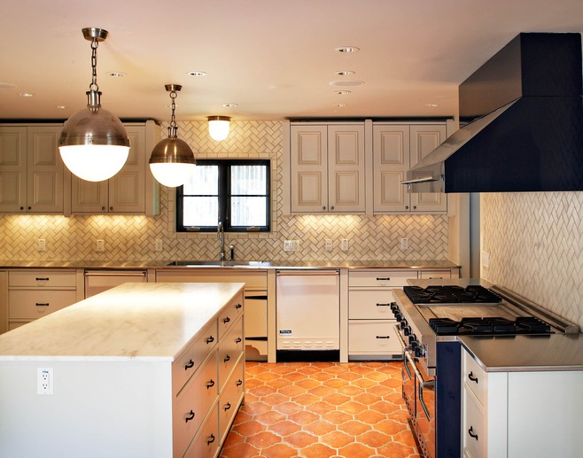 herringbone backsplash transitional kitchen more