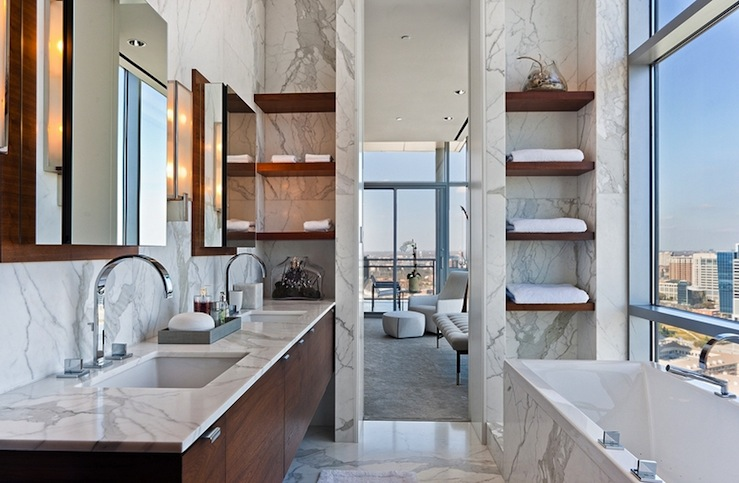 Modern High Rise Bathroom Design With Cherry Floating Double Bathroom  Cabinets, Marble Counter Tops, Marble Tiles Floor, Marble Walls Backsplash,  ...