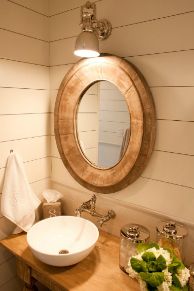 Oval wood mirror cottage bathroom munger interiors - White wood framed bathroom mirrors ...