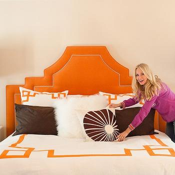 Orange Velvet Headboard, Hollywood Regency Bedroom, Marmalade Interiors