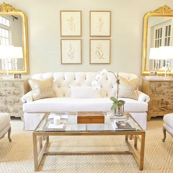 Glass and Brass Coffee Table, French, living room, Munger Interiors