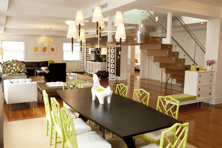 Green Bamboo Chairs Contemporary Dining Room Lily Z Design