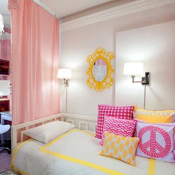 Yellow And Pink Girls Room Design Ideas