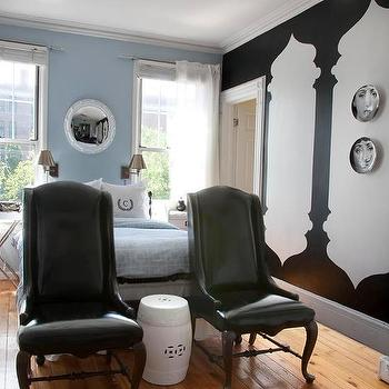 Black Wingback Chairs, Contemporary, bedroom, Lily Z Design