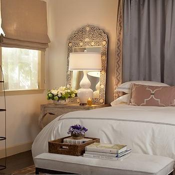 Bone Inlay Mirror, Eclectic, bedroom, Laura Martin Bovard Interiors